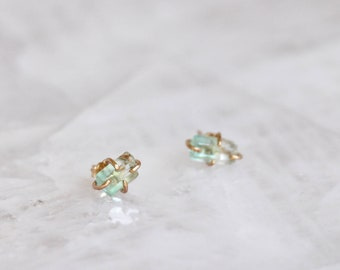 Bicolor Emerald Stud Earrings