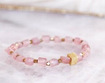 Raw Rose Quartz Stretch Bracelet