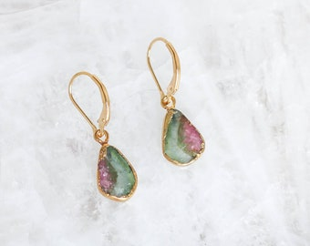 Pink + Green Bicolor Tourmaline Slice Earrings