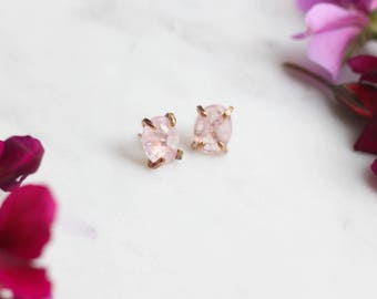 Rose Gold + Morganite Stud Earrings