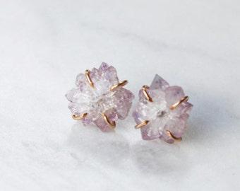 Amethyst Stalactite Raw Stone Stud Earrings