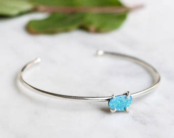 Blue Opal + Sterling Silver Cuff