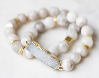 White Agate + Druzy Stretch Bracelet Set