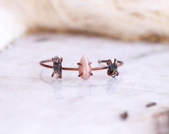 Peach Moonstone + Herkimer Diamond Copper Cuff
