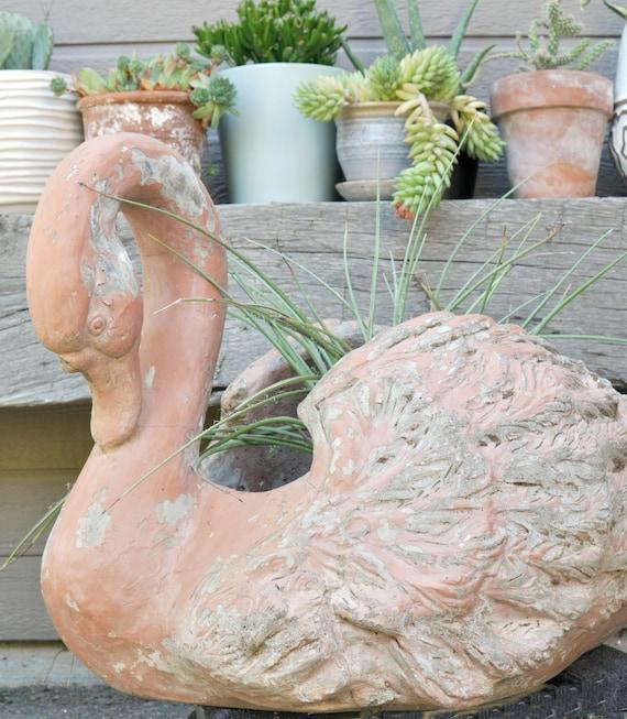 Original 1950 S Pink Swan Le Jardin Concrete Planter Etsy