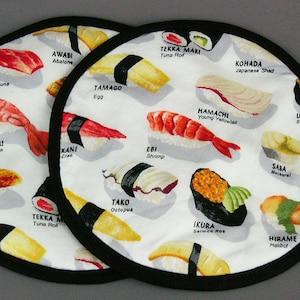 kappa maki lover gift sushi roll potholders sushi roll japanese fun kitchen hotpads makki roll set of potholders salmon tuna