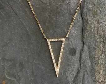 14k Open Triangle Diamond Necklace