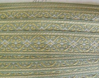 Last Piece Vintage Lyon France Embroidery Tape Trim Thick Wide Green Blue