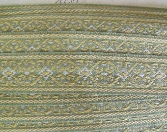 "13 yds Vintage Lyon France 1 3/8"" wide Woven Tape Mint Green Yellow White Trim Passementerie Drapery"