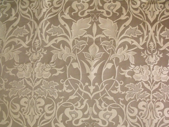 Taupe Or Green Art Nouveau Arts And Crafts Floral Upholstery Etsy