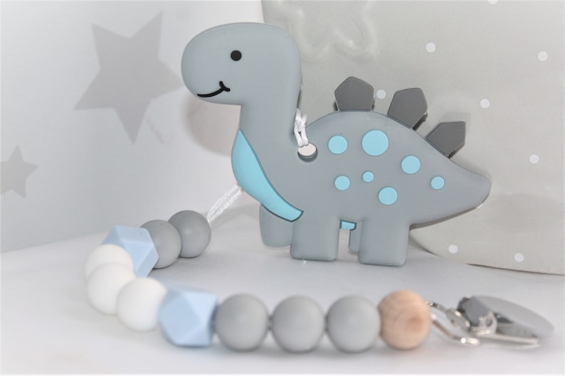 Dino Silicone baby Safe dummy Clips Baby Teether Silicone image 0