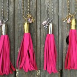 Breast Cancer Awareness Bullet Leather Tassel Necklace / Tassel Necklace / Bullet Necklace / Deerskin Leather Tassel / Bullet Tassel