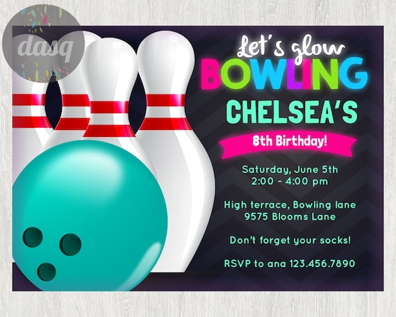 instant download bowling invitation printable bowling etsy