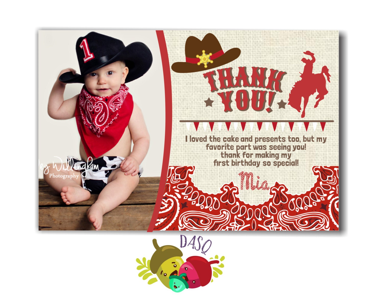 Thank you card Cowboy Invitation Cowboy Printable Cowboy | Etsy