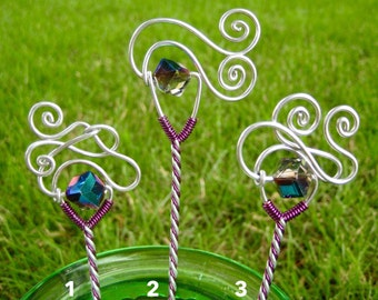 Wire Hair Stick with Iridescent Bead and Purple Accent