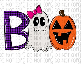 BOO - ghost - pumpkin Sublimation Heat Transfer - Ready to Press