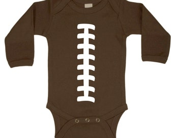 Football Funny Baby One Piece Bodysuit Brown w/ White LONG SLEEVE Cool Personalizable Baby Shower Gift