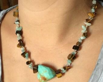 Turquoise & Tiger Eye stone Necklace