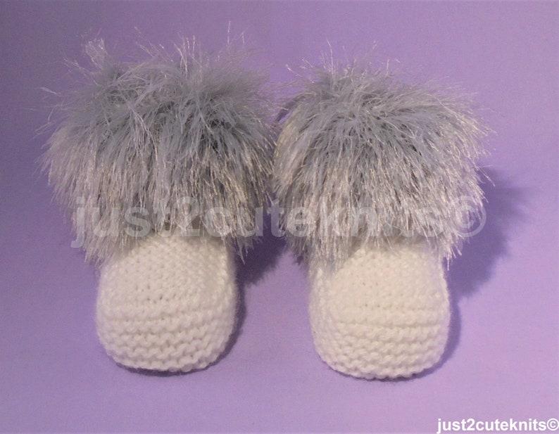 Hand Knitted Designer Unisex Baby GirlBaby Boy BootiesBoots Fur Top Newborn Special Occasion Baby Shower Original