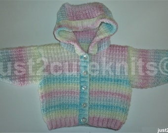 Hand Knitted Baby Girls Hooded Jumper Baby Shower Newborn Reborn#2