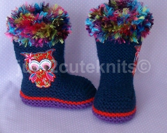Hand Knitted Designer Baby Girl Knee High Booties/Boots Fur Top Newborn Special Occasion Baby Shower Original Reborn Doll #52