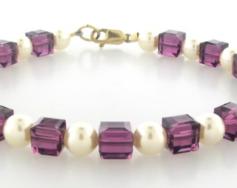 Swarovski Crystal cube Amethyst & Cream Pearls with Gold Filled Clasp