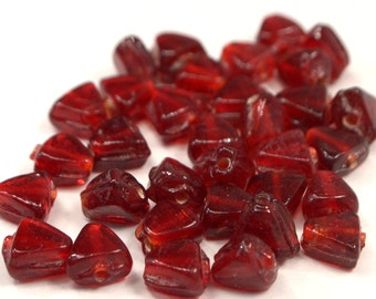 Red Glass Beads, 50 Loose Red Beads, Deep Red Triangle Beads, Beads For Jewelry Making, Craft Supplies, Destash Red Beads (G50)