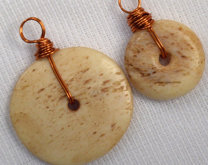 H343 2 Loose Copper Wire Wrapped Donut Charms Wire Wrapped Bone Charms Destash Add On Pendants For Jewelry Making Bone Coin Charms