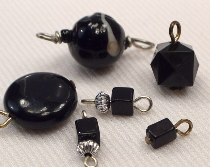 Black Bead Charms /& Connectors Jewelry Making Supplies H406 Destash Charm Supplies 6 Loose Black Link Connector and Add On Charms