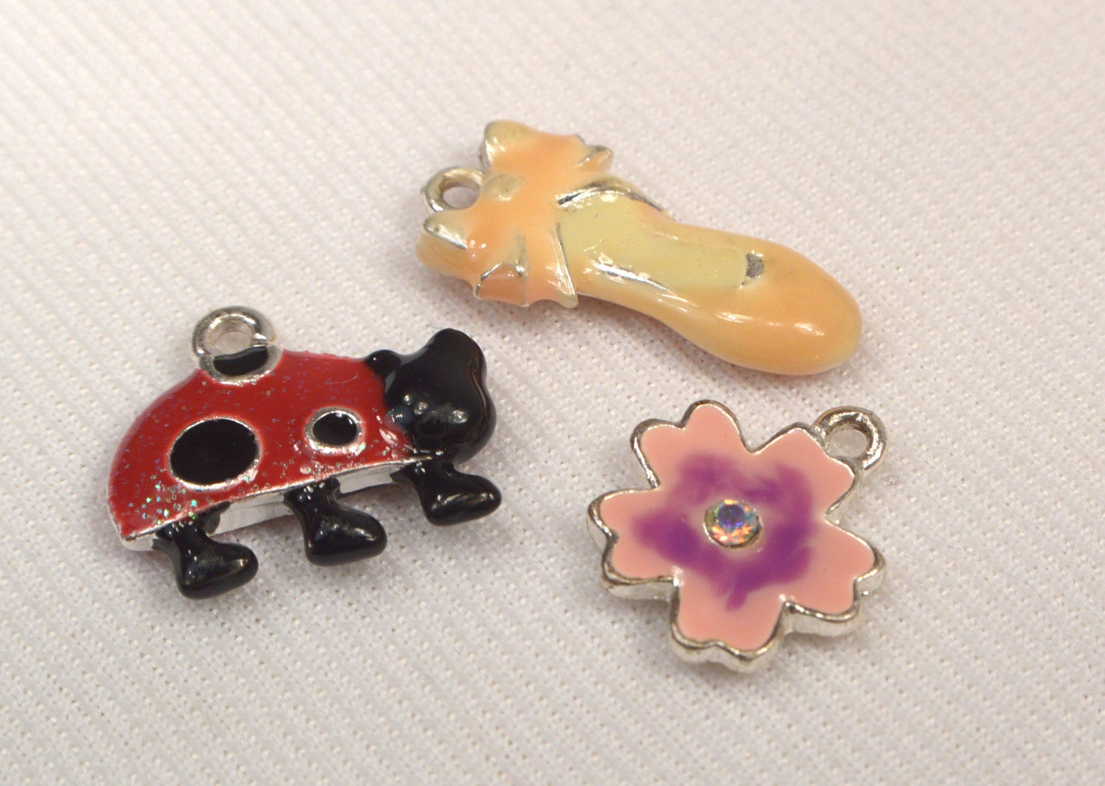 lady bug charm, ballet shoe charm, flower metal charm mix, charms for jewelry making, destash metal vintage charms, 3 loose char