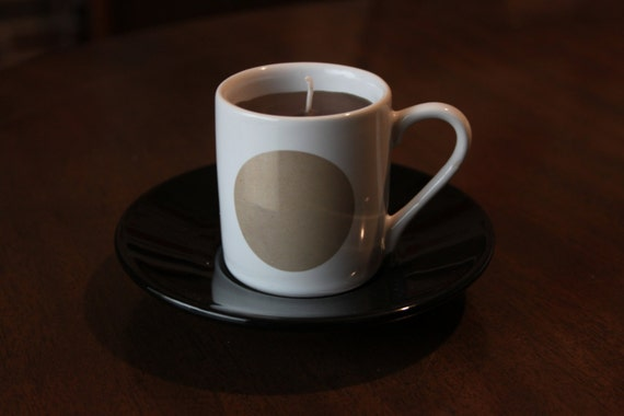 Brand New Teacup Candle Asda Luna Espresso Set White Cup With A Brown Circle Design To Each Side Black Saucer Delicate Coffee Scent Wax