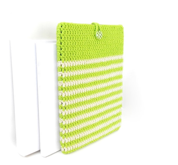 Lime Green iPad Air 2019 cover, stripe Kindle Fire HD sock, vegan Sony  Xperia Z4 tablet case, Nook Tablet 10 case, GalaxyTab S5e 2019 pouch