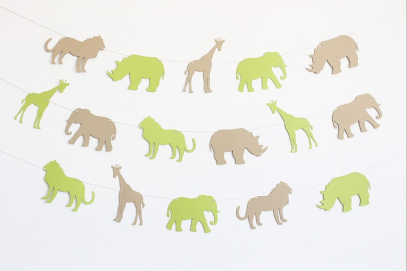 Giraffes Customizable Colors Zoo Animal Party Banner with Lions and Rhinos Elephants