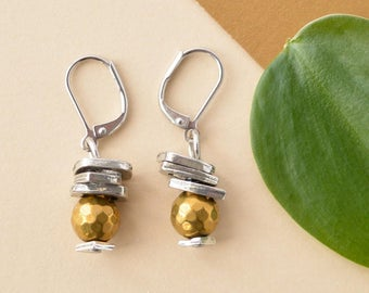 Gold & silver wedding earrings, 8mm gold pyrite, stacked silver charms, steel lever back, gold modern earrings, bridesmaids gold gift