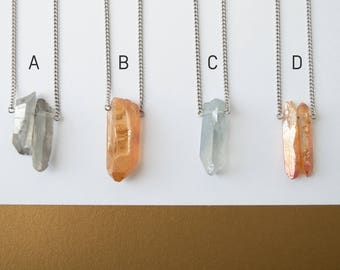 Raw quartz pendant necklace, healing crystal point, layering quartz necklace, minimalist quartz necklace, stainless steel chain
