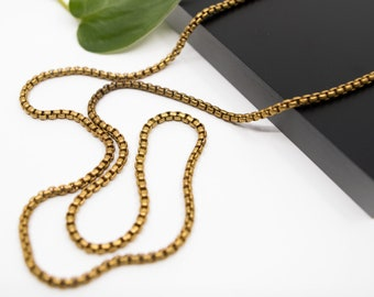 Rolo 2,4mm brass chain, finished chain necklace, plain chains for  pendants, gold raw brass chain necklace, 16 inch to 36 inch length