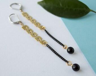 Duster brass chevron earrings, matte black brass earrings, drop gold earrings, black earrings bead, brass jewelry, bridesmaid earring
