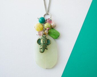 Ganesh beaded gemstone pendant necklace, brass verdigris patina Vintah pendant, gemstone cluster, steel chain,  green jade stone