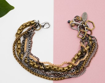 Layered brass chain bracelet, silver and gold statement bracelet, chunky chain links bracelet, everyday bracelet, gift for funky girl