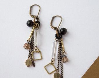 Brass, black & clear dangle earrings, antique brass earrings, czech glass beads, boho brass jewelry, gold gift for women