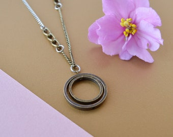 """Minimalist double circle pendant, delicate stainless steel chain, 18"""" brass chain, double rings pendant necklace, silver modern pendant"""
