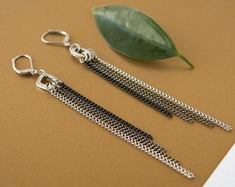 Long chain earrings, cascade earrings, black chain pendant, stainless steel tassel, glam rock earrings, multi chain statement earrings