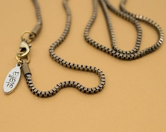 Antique brass 2mm box chain, 14 to 36 in length, thick chain for locket pendant, finished chain necklace, bronze chain for him & her