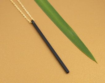 Black stick pendant necklace,  gold cable brass chain, gold chain & black bar necklace, black and gold necklace, gift for her under 50
