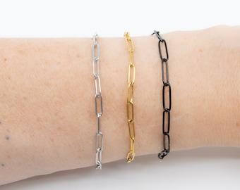 Paperclip chain bracelet, stainless steel rectangle links bracelet, silver gold or black paperclip layering bracelet for women,