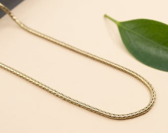 2mm gold rounded snake chain, brass foxtail chain necklace, 14 to 20 in raw brass chain necklace, custom length chain