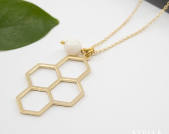 Gold hexagon pendant, brass cable chain necklace, gold honeycomb long necklace, modern geometric brass necklace for her, layering jewellery