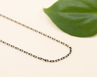 Black & gold rectangle link chain, brass soldered chain, unisex chain for pendant, delicate finished cable chain necklace