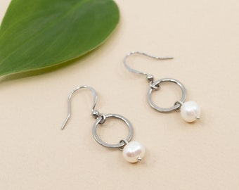 Fresh water pearl & stainless steel hoop earrings, drop pearl earrings, lightweight steel earrings, pearl jewelry for women