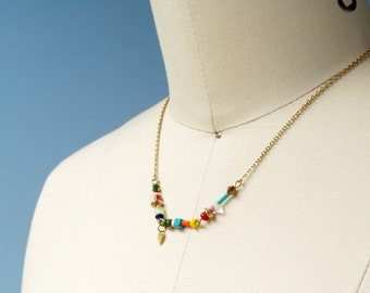 Colorful beaded chain necklace, dainty rainbow choker necklace, gold stainless steel chain necklace, summer layering necklace made in Canada